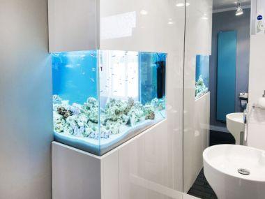 Łazienka z wbudowanym akwarium